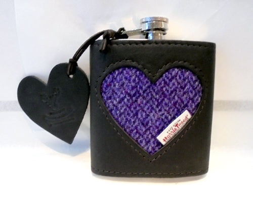 Deerskin Leather & Harris Tweed Hip Flask