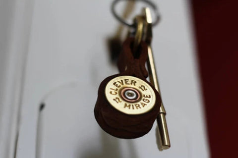 Shotgun Cartridge Key Ring With Leather Strap