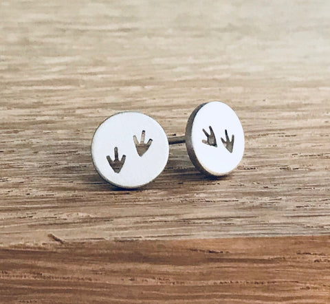 Bird Prints in the Sand - stud earrings