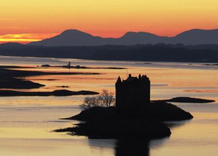 Postcard - Castle Stalker Evening