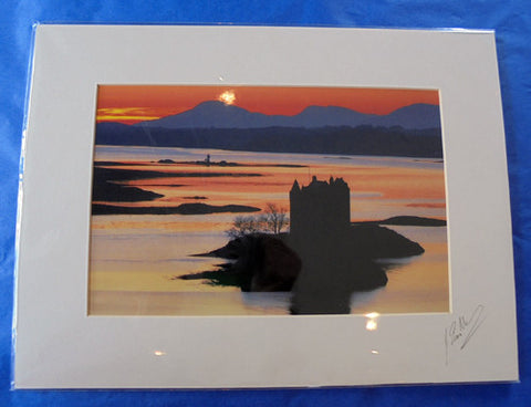 Mounted Print - Castle Stalker Evening