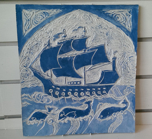 Painted tile - Galeon and dolphins
