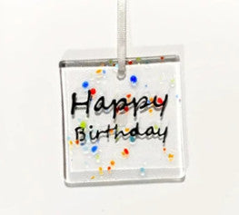 Glass Hanger / Card - Happy Birthday