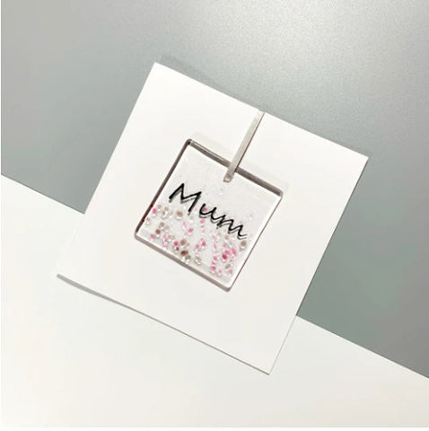 Glass Hanger / Card - Mum