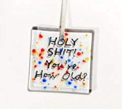 Glass Hanger / Card - HOLY SHIT! You're how OLD? Birthday Card