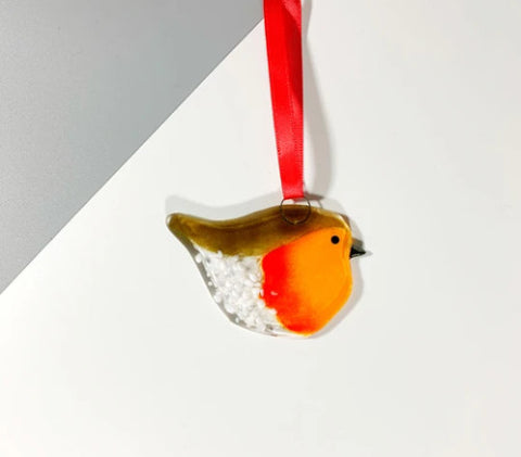 Glass Hanger - Wee Robin Decoration
