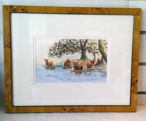 Painting - Highland Cows in water