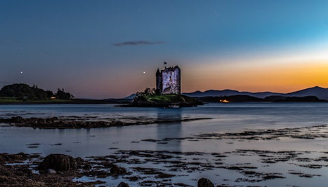 Castle Stalker at night - mounted print
