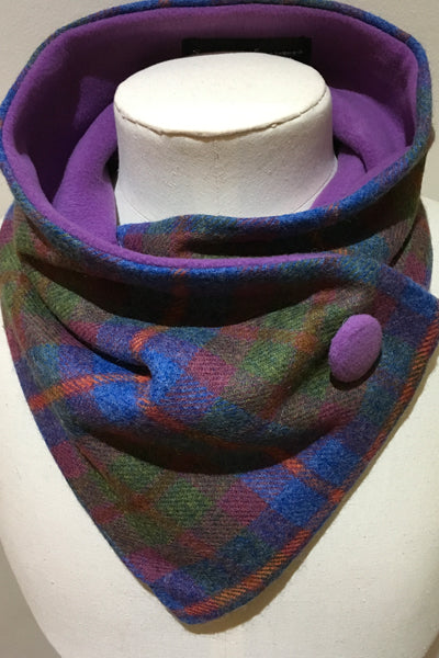 Neckwarmer - mauve-blue-green pure wool
