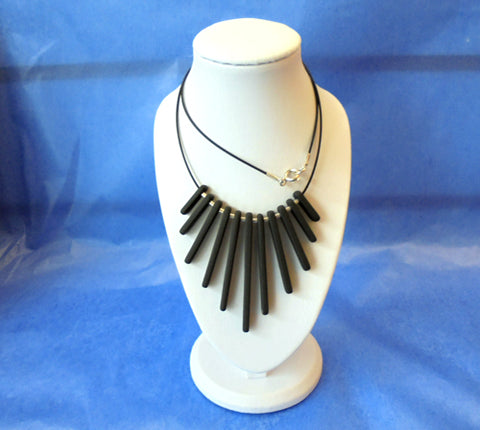 Slate & Silver Necklace - Fringe