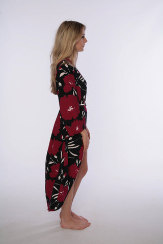 Ruby bloom print long womens Kimono