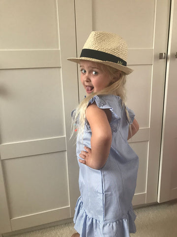 Kids Personalised Straw Trilby