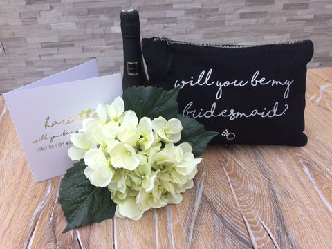 Will you be my bridesmaid personalised make up bag