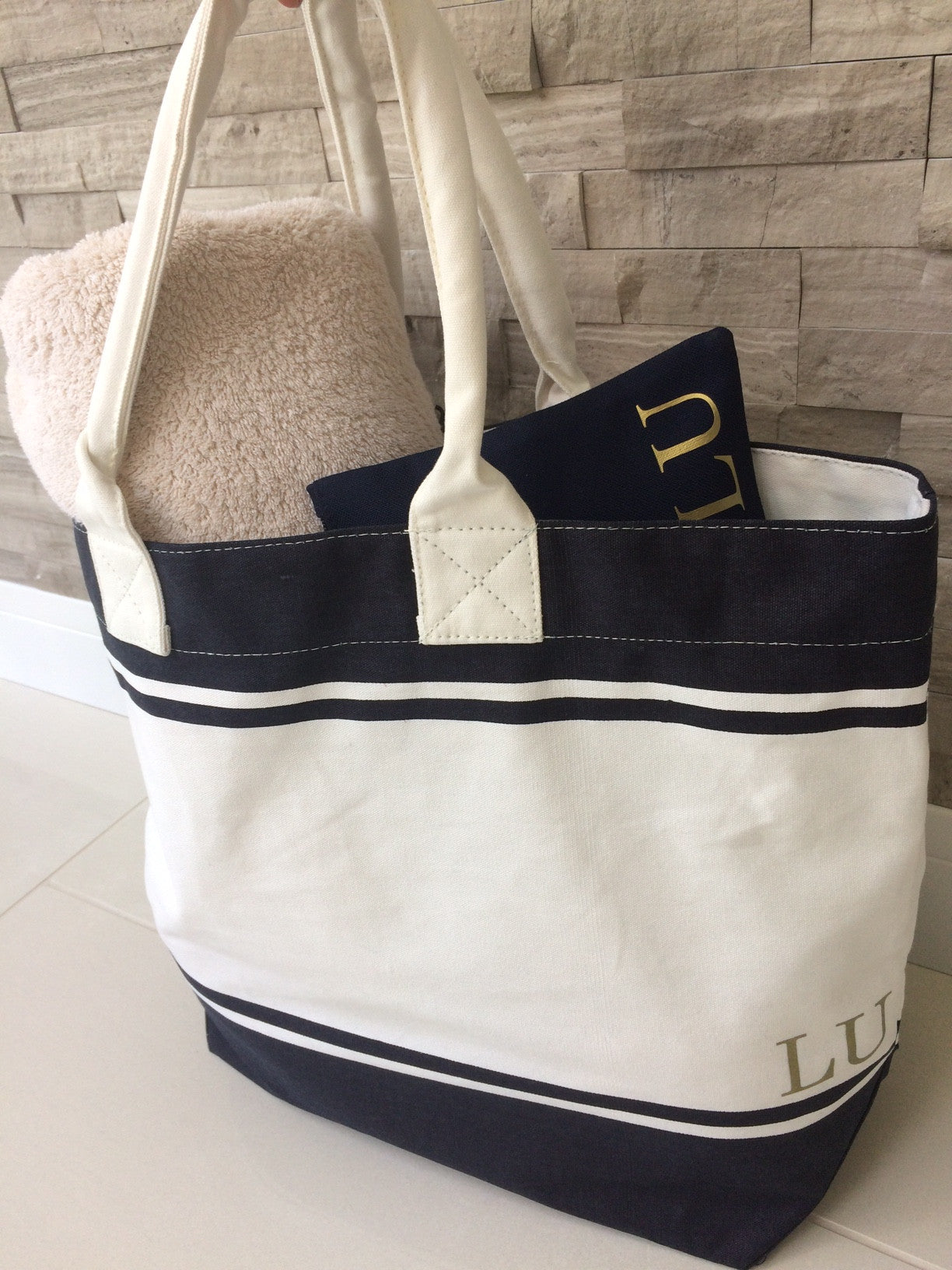 Navy Personalised Make Up/ Travel Bag - Koko Kimono