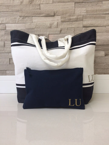 Navy Personalised Make Up/ Travel Bag