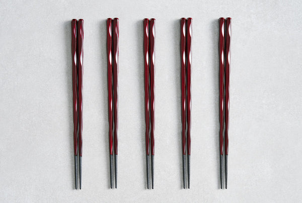 Fushimi Chopsticks Burgandy 24cm - Set of 5
