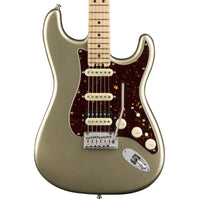 Close up of Fender American Elite HSS Shawbucker Strat Champagne MN