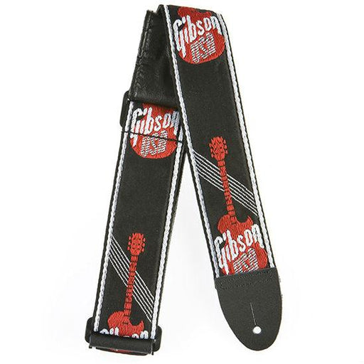 "Gibson 2"" Woven Guitar Strap Black Red - Music Junkie"