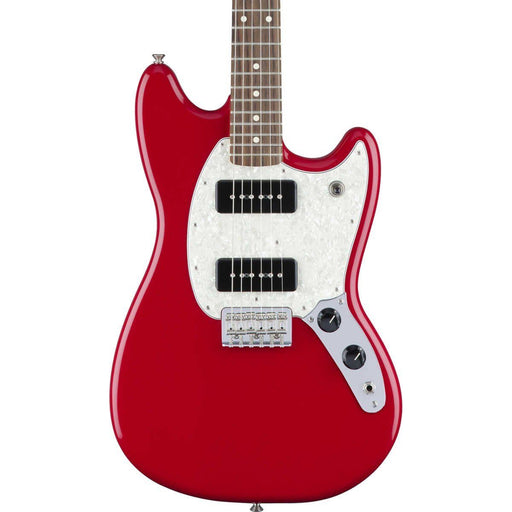 Close up of Fender Mustang P90 Olympic Torino Red Pau Ferro Neck