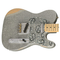 Close up of Fender Brad Paisley Road Worn Telecaster Silver Sparkle MN