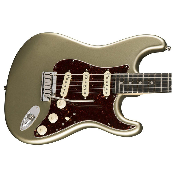 Close up of Fender American Elite Strat Champagne EB