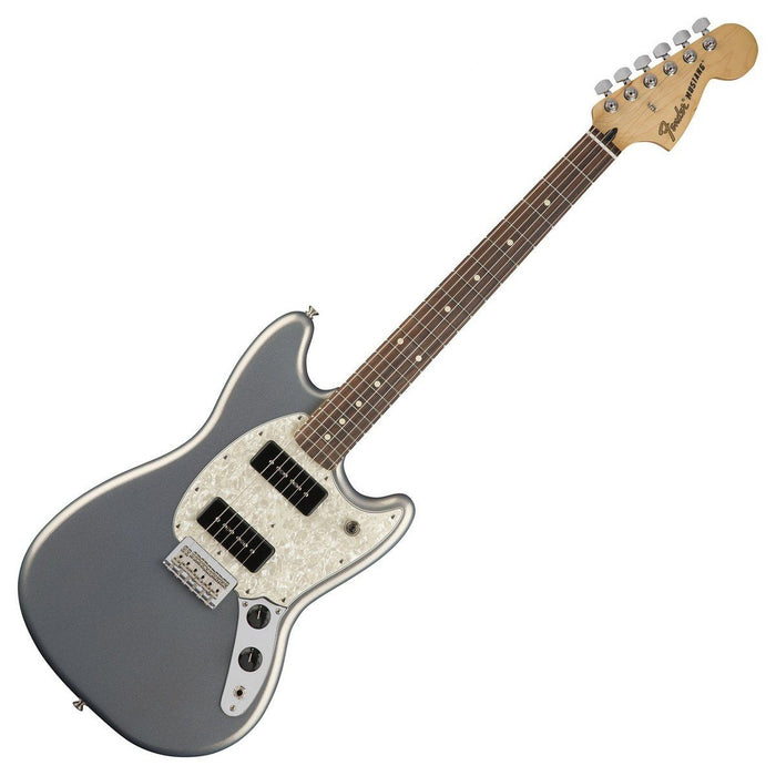 Front view of Fender Mustang P90 Silver Pau Ferro Neck
