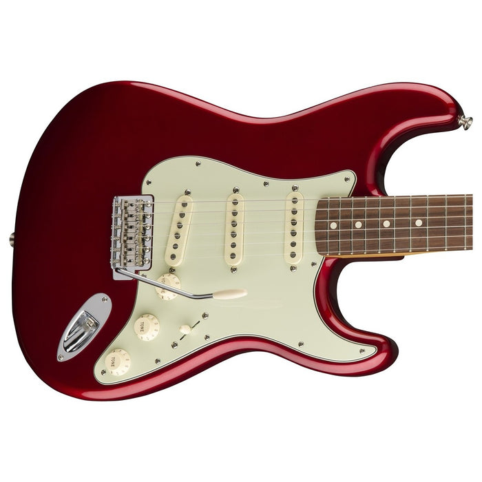 Close up of Fender Classic Series 60's Stratocaster Candy Apple Red PF