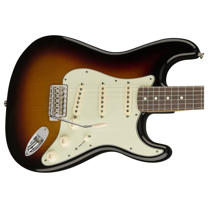 Close up of Fender Classic Series 60's Stratocaster 3-Color Sunburst PF