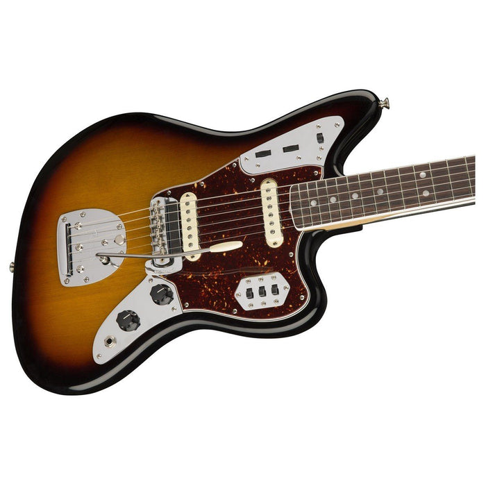 Close up of Fender American Original 60's Jaguar 3 Tone Sunburst RW