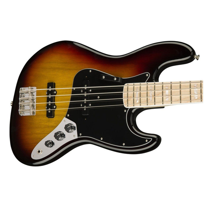 Close up of Fender American Original 70's Jazz Bass 3 Tone Sunburst MN