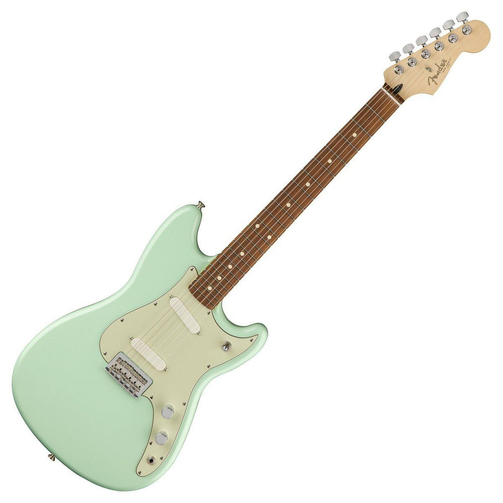 Front view of Fender Duo-Sonic Surf Green Pau Ferro Neck