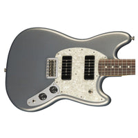 Close up of Fender Mustang P90 Silver Pau Ferro Neck