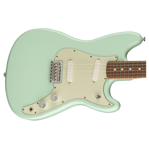 Close up of Fender Duo-Sonic Surf Green Pau Ferro Neck
