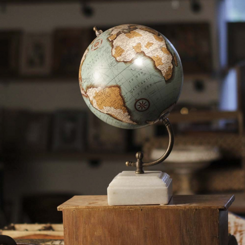 World Globe: Antique Premium with Marble Stand