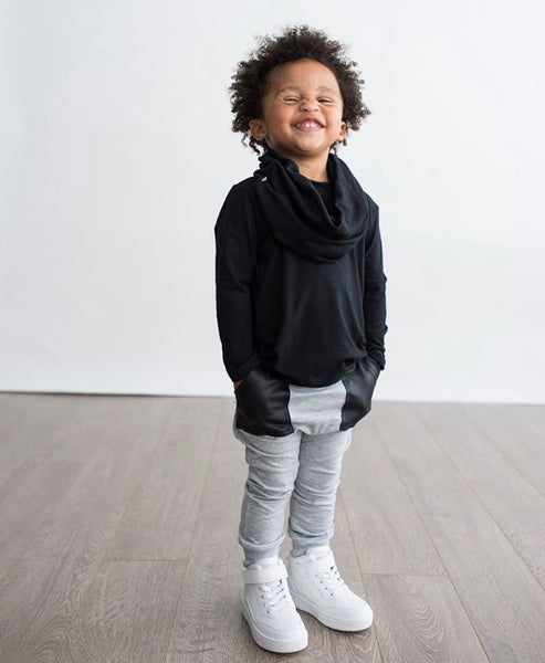 Kids Harem Joggers with faux leather pockets