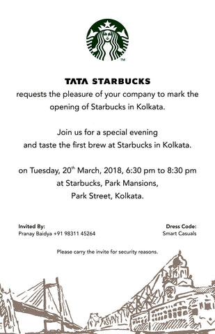 Pranay Baidya Welcomes STARBUCKS in Kolkata