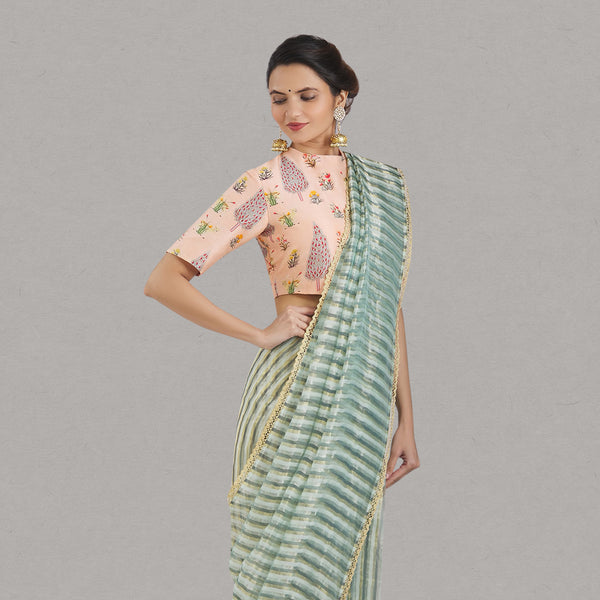 Mint Green Metallic Stripe Maheshwari Saree