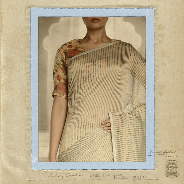 Pistachio & gold missing stripe maheshwari saree