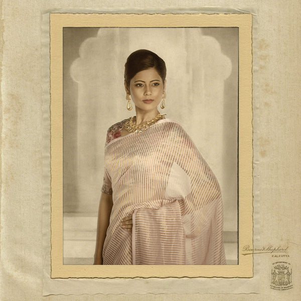 Lilac & gold missing stripe maheshwari saree