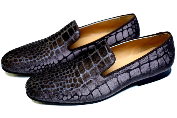 Croco Embossed Suede Cocoa