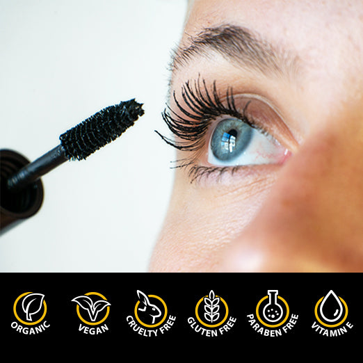All Natural Organic Mascara | Black | Vegan & Cruelty Free | For Lash Growth, Lengthening and Volume | Best Gluten Free Eyelash Conditioning Eye Makeup | Volumizing & Washable Mascara | Made in USA