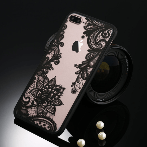 etui-iphone: Floral Black