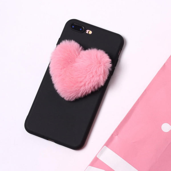 Fluffy Heart Black