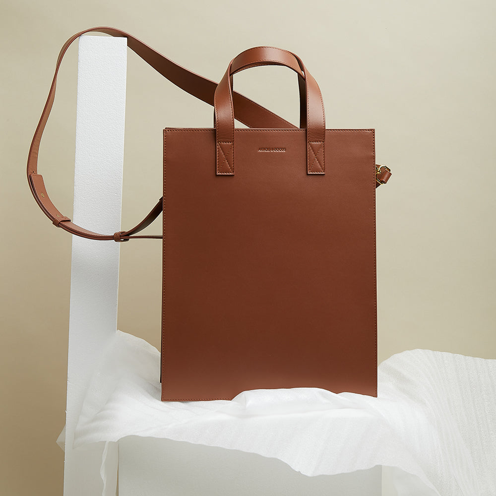 Shopper Tote w/ Wide Strap - No° H2 - Mocha Brown Smooth Nappa