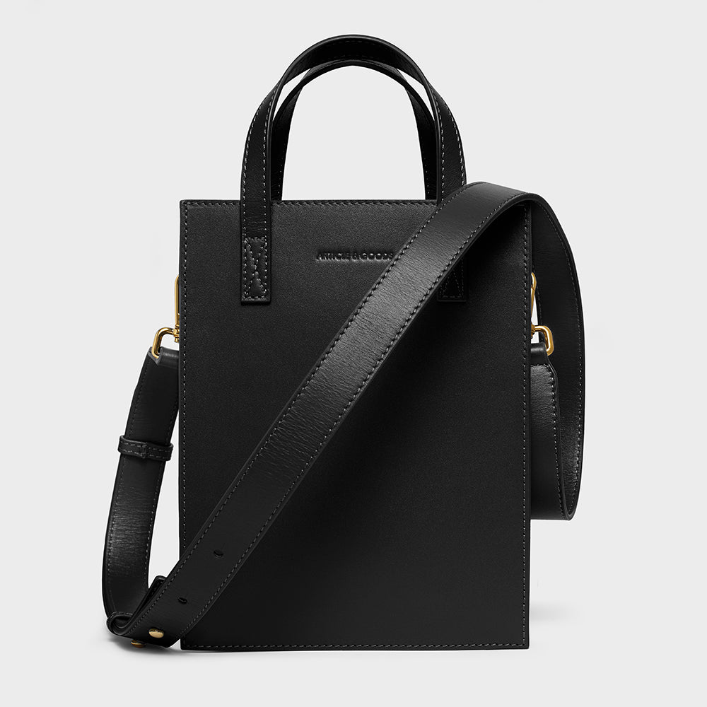 Mini Shopper Tote w/ Strap - No° O1 - Black Smooth Nappa