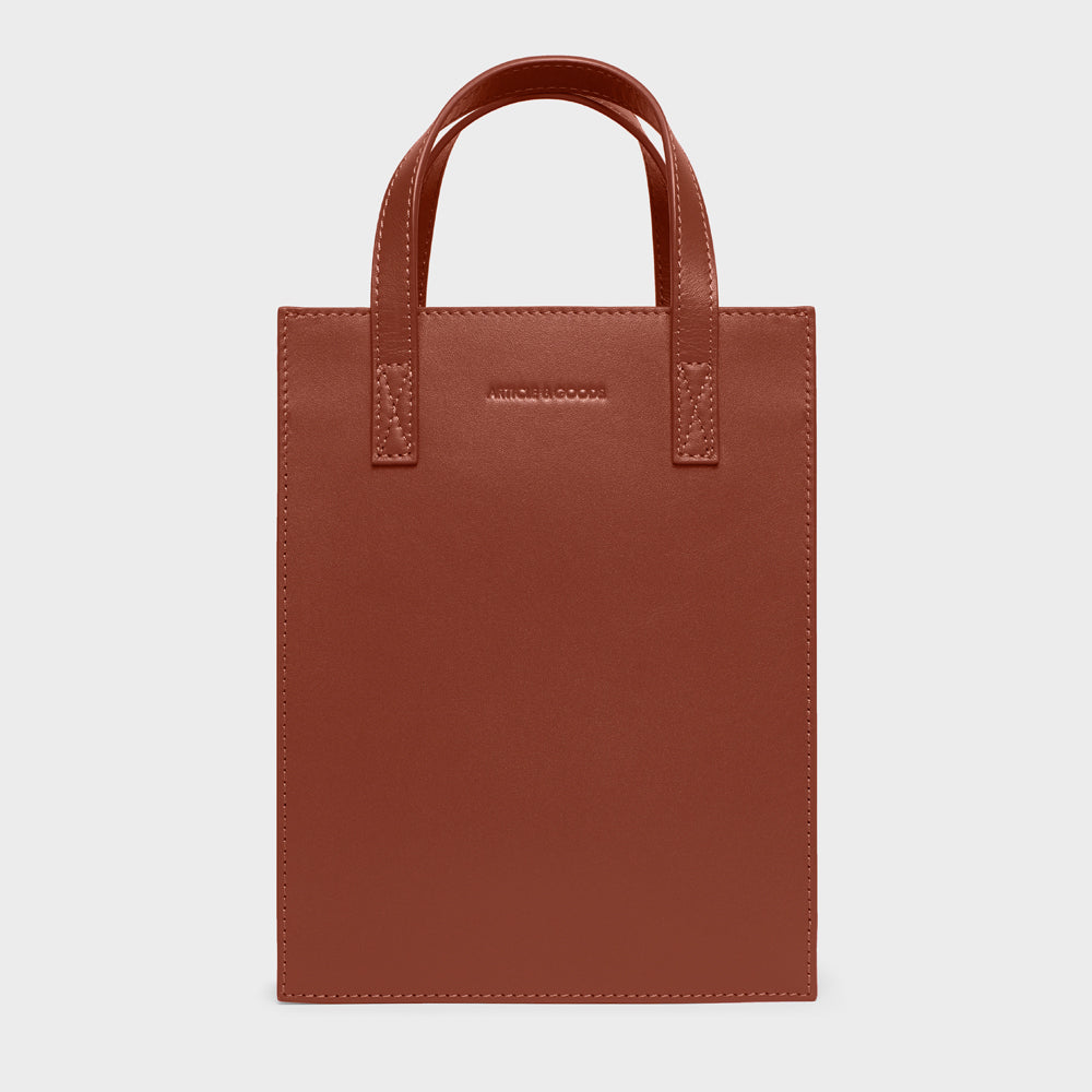 Mini Shopper Tote w/ Strap - No° O3 - Mocha Brown Smooth Nappa