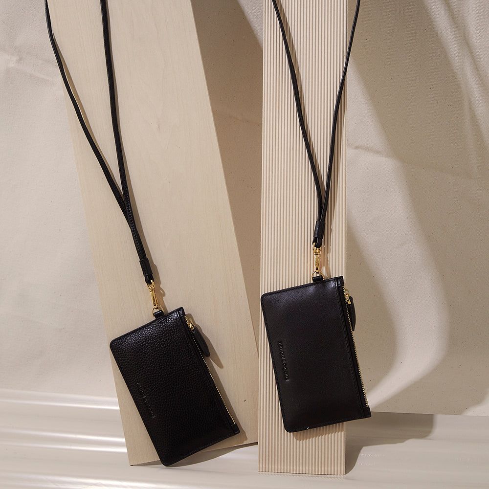 Slim Zippy Wallet Lanyard Necklace - No° JJ1 - Black Smooth Nappa