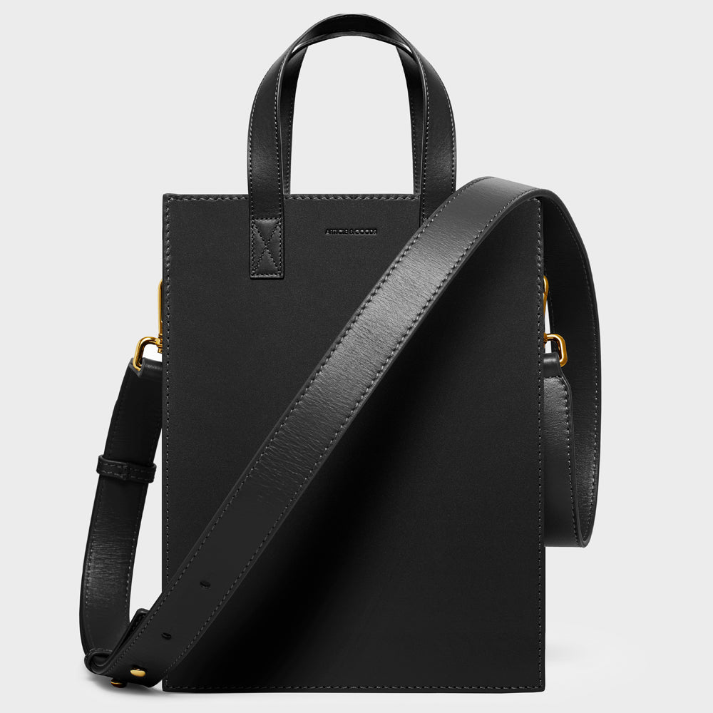 Shopper Tote w/ Wide Strap - No° H1 - Black Smooth Nappa