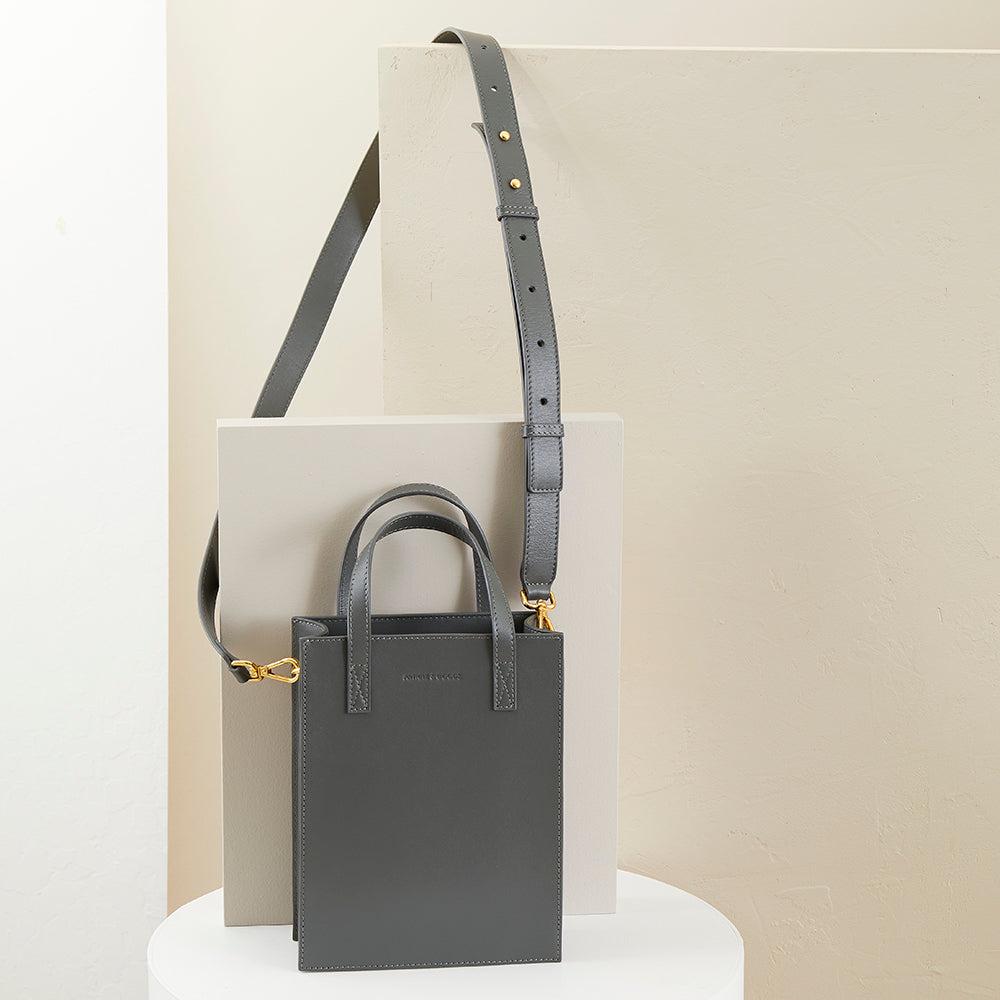 Mini Shopper Tote w/ Strap - No° O2 - Slate Gray Smooth Nappa