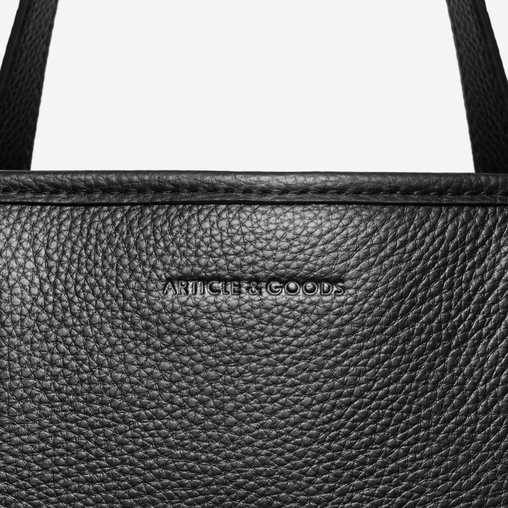 Tall Multi Pockets Tote - No° K1 - Black Pebble Grain